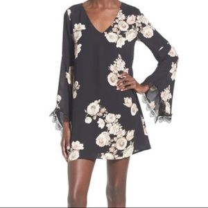 ASTR Dress Black Floral Bell Sleeve Lace Detail
